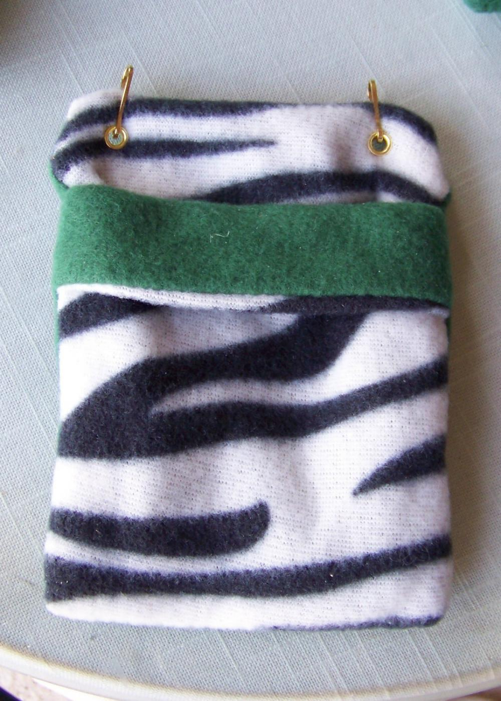 FLEECE BONDING POUCH for Small Pets - Green with Black and White Zebra Stripe patterned Fleece - 4.5 x 6 inches